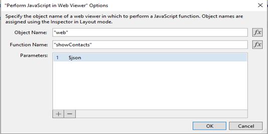 Perform Javascript in web viewer